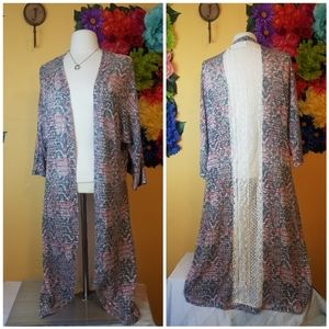 Cato Kimono/Cardigan with crochet detail- Small